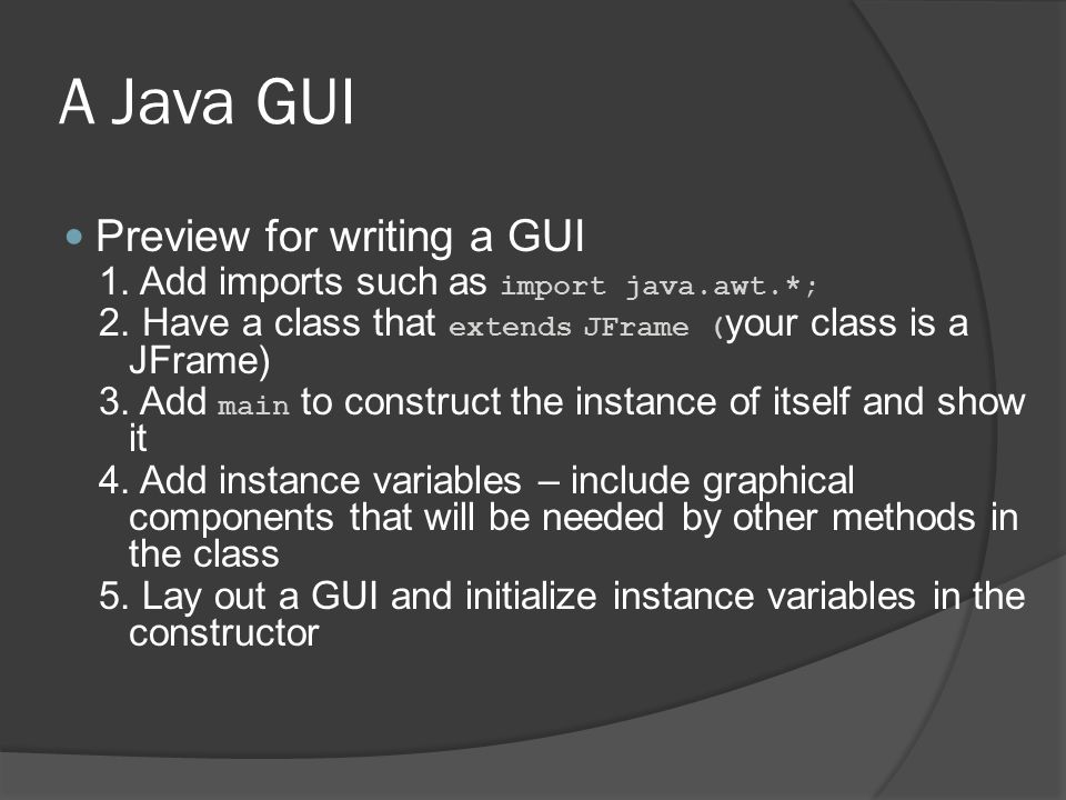 A Java GUI Preview for writing a GUI