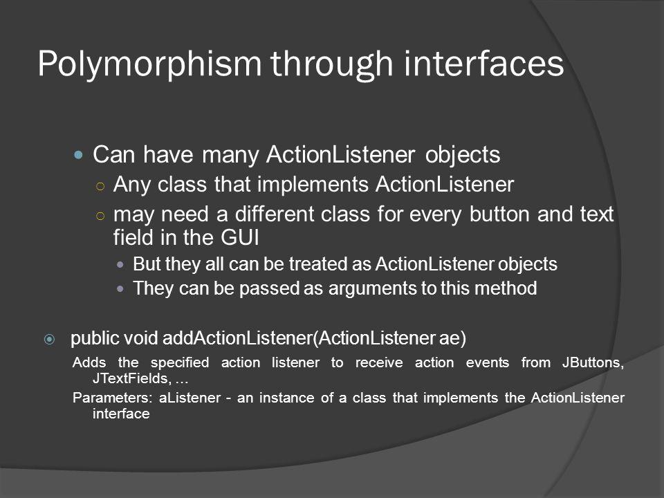 Polymorphism through interfaces
