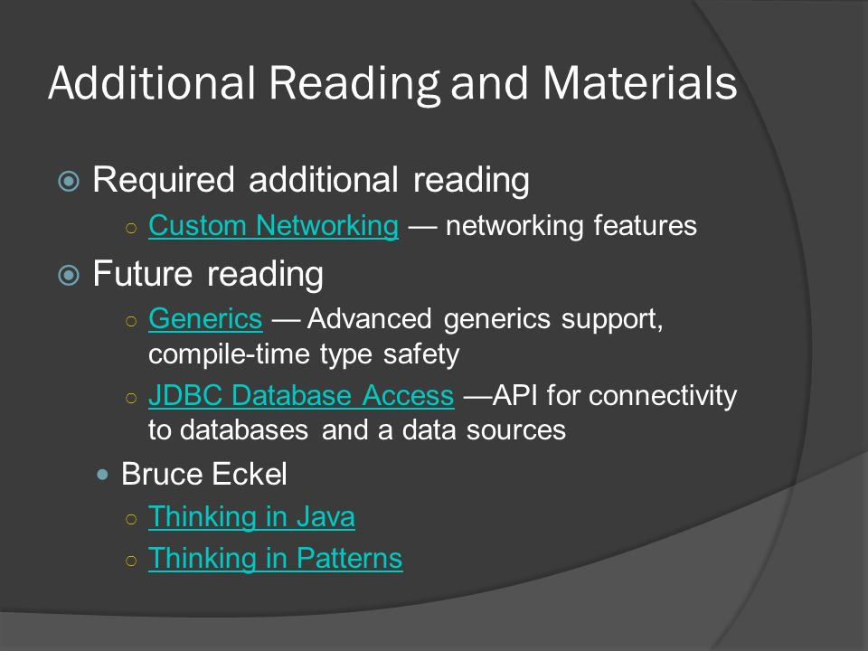 Additional Reading and Materials