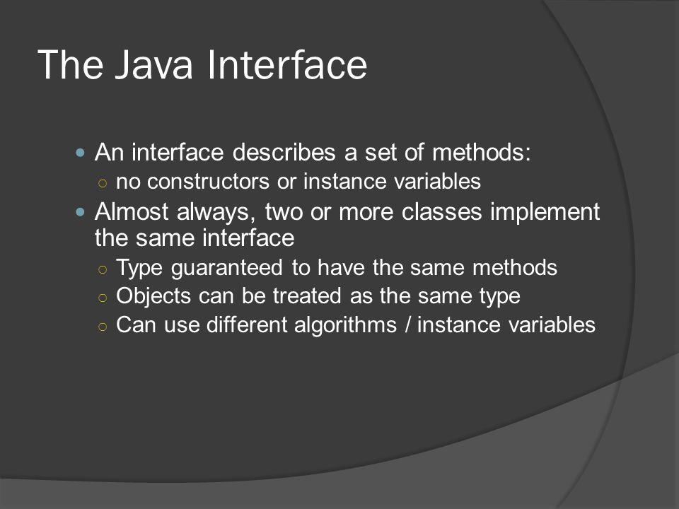 The Java Interface An interface describes a set of methods: