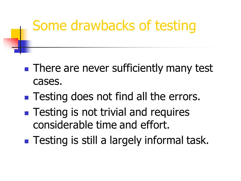 Some drawbacks of testing