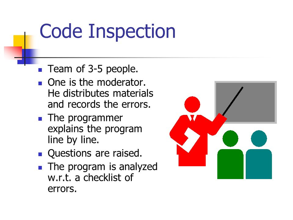 Code Inspection Team of 3-5 people.