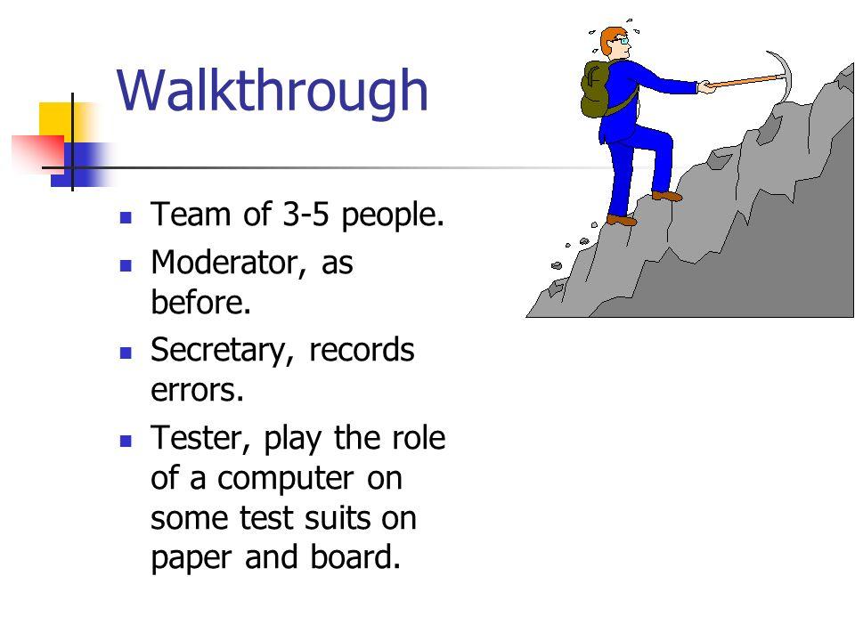 Walkthrough Team of 3-5 people. Moderator, as before.