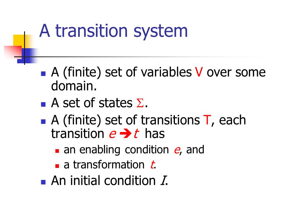 A transition system A (finite) set of variables V over some domain.