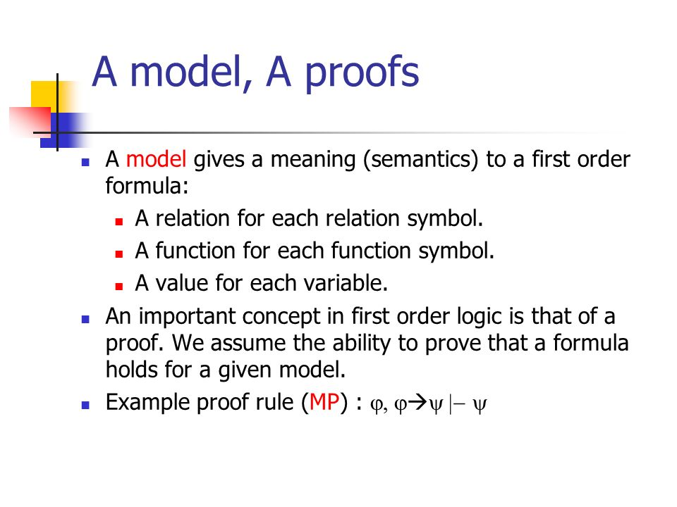 A model, A proofs A model gives a meaning (semantics) to a first order formula: A relation for each relation symbol.