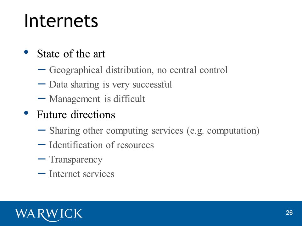 Internets State of the art Future directions