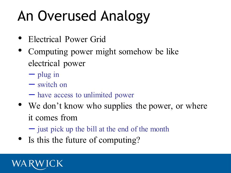 An Overused Analogy Electrical Power Grid