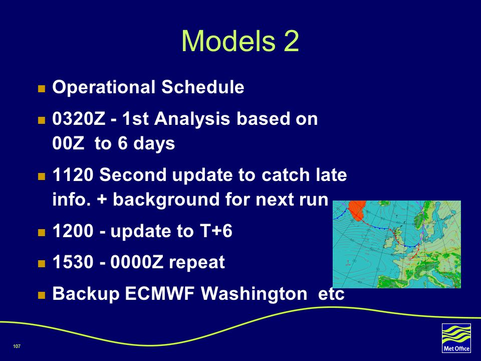 Models 2 Operational Schedule