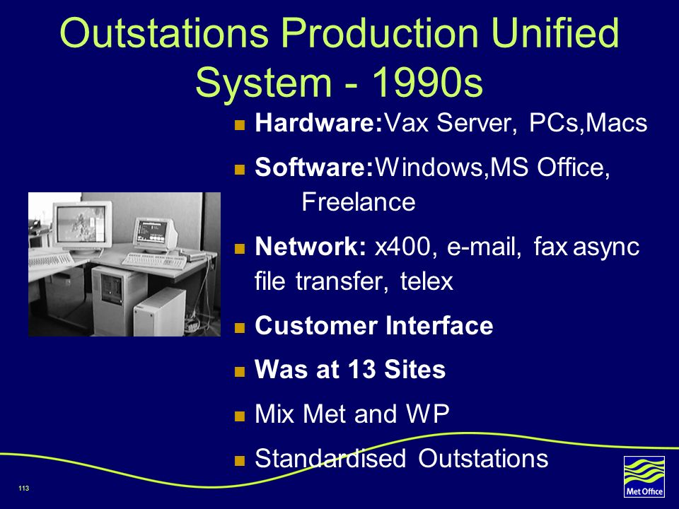 Outstations Production Unified System - 1990s
