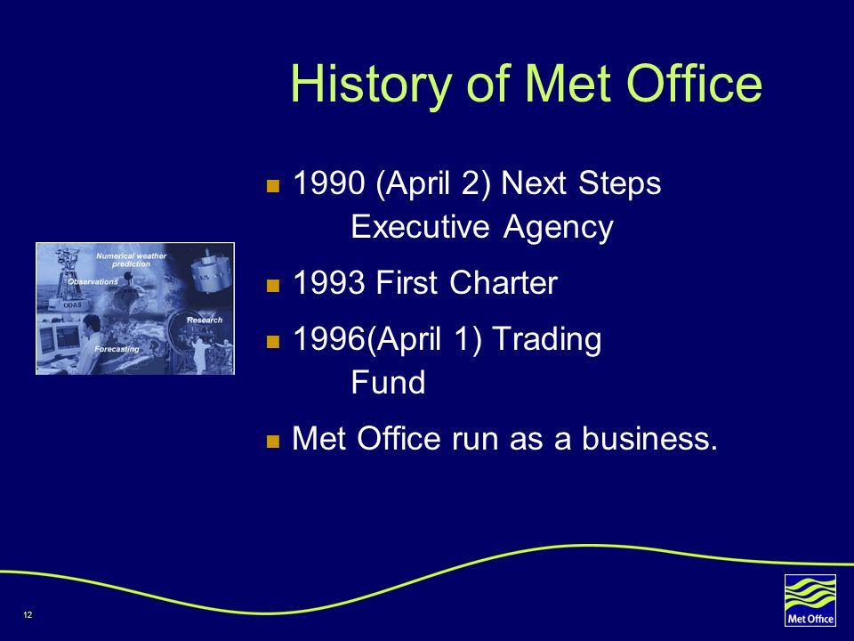 History of Met Office 1990 (April 2) Next Steps Executive Agency