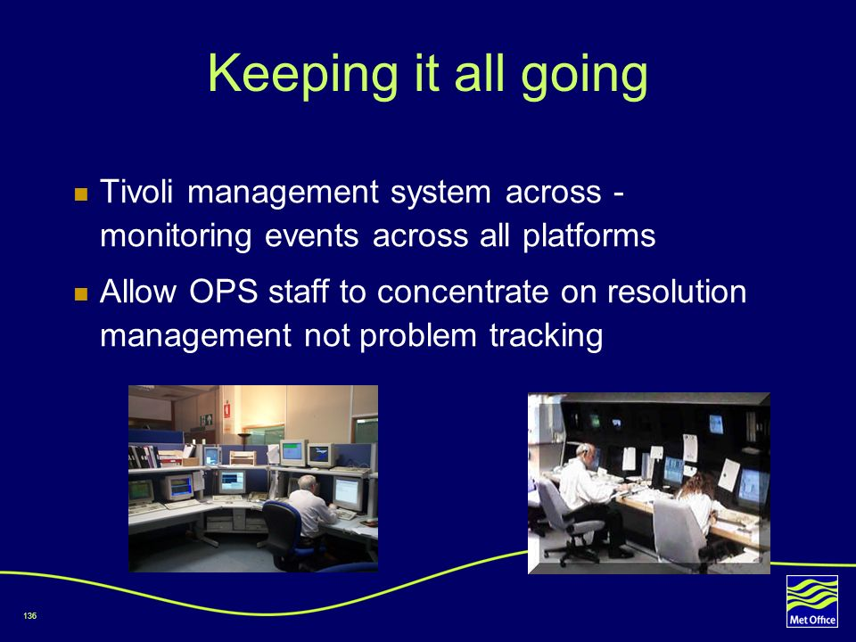 Keeping it all going Tivoli management system across - monitoring events across all platforms.