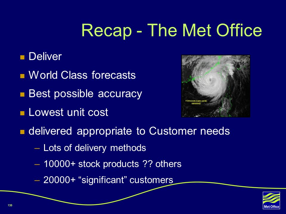 Recap - The Met Office Deliver World Class forecasts