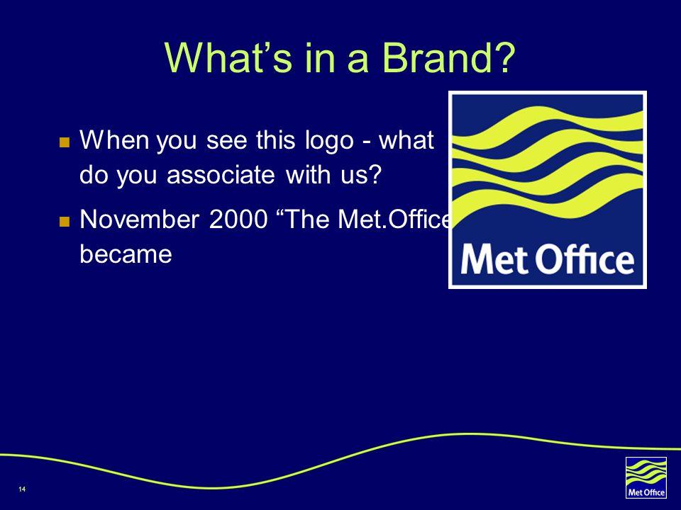 What's in a Brand. When you see this logo - what do you associate with us.