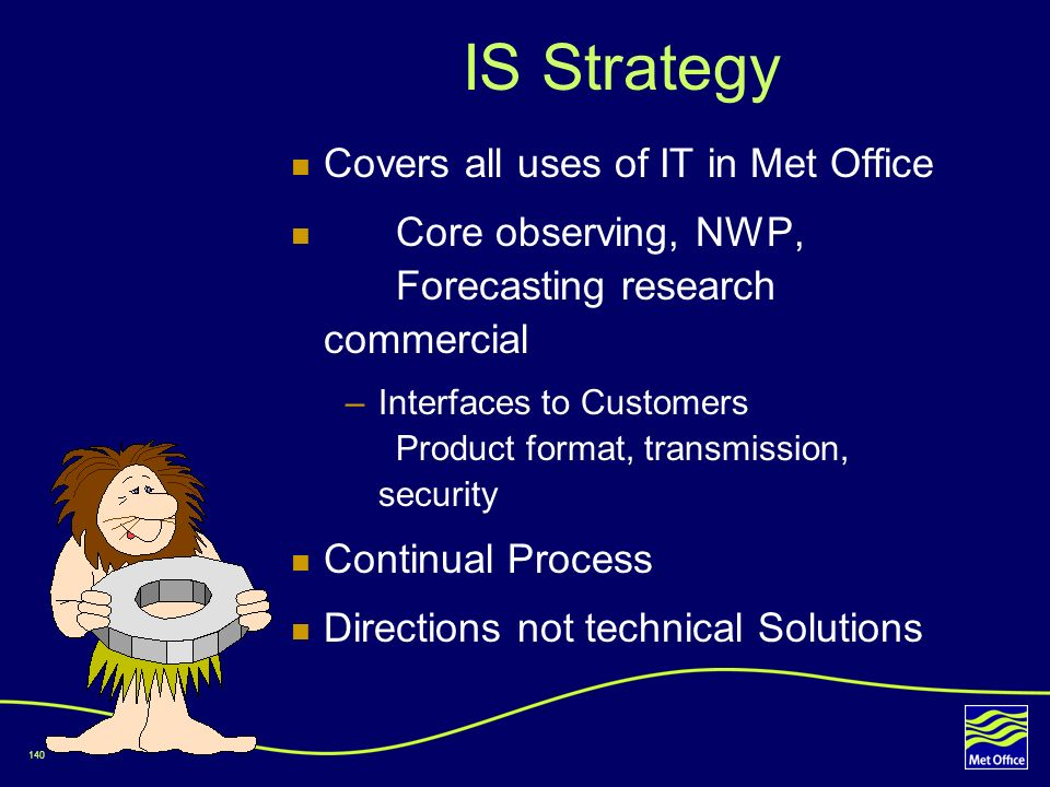 IS Strategy Covers all uses of IT in Met Office