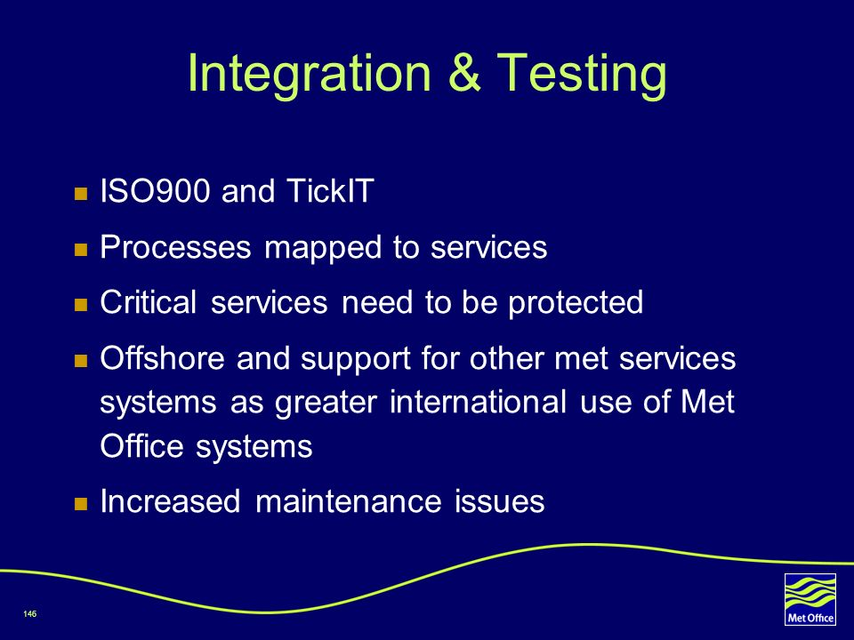 Integration & Testing ISO900 and TickIT Processes mapped to services