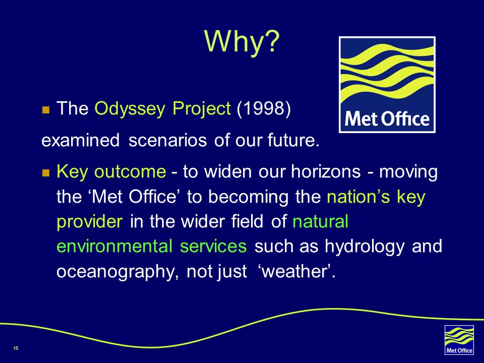 Why The Odyssey Project (1998) examined scenarios of our future.