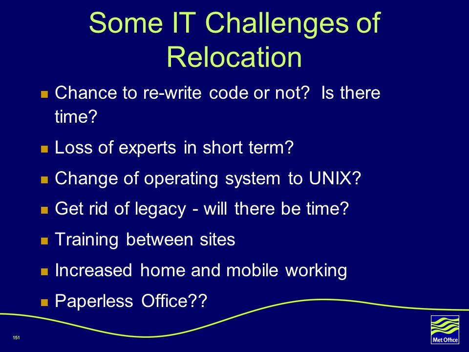 Some IT Challenges of Relocation