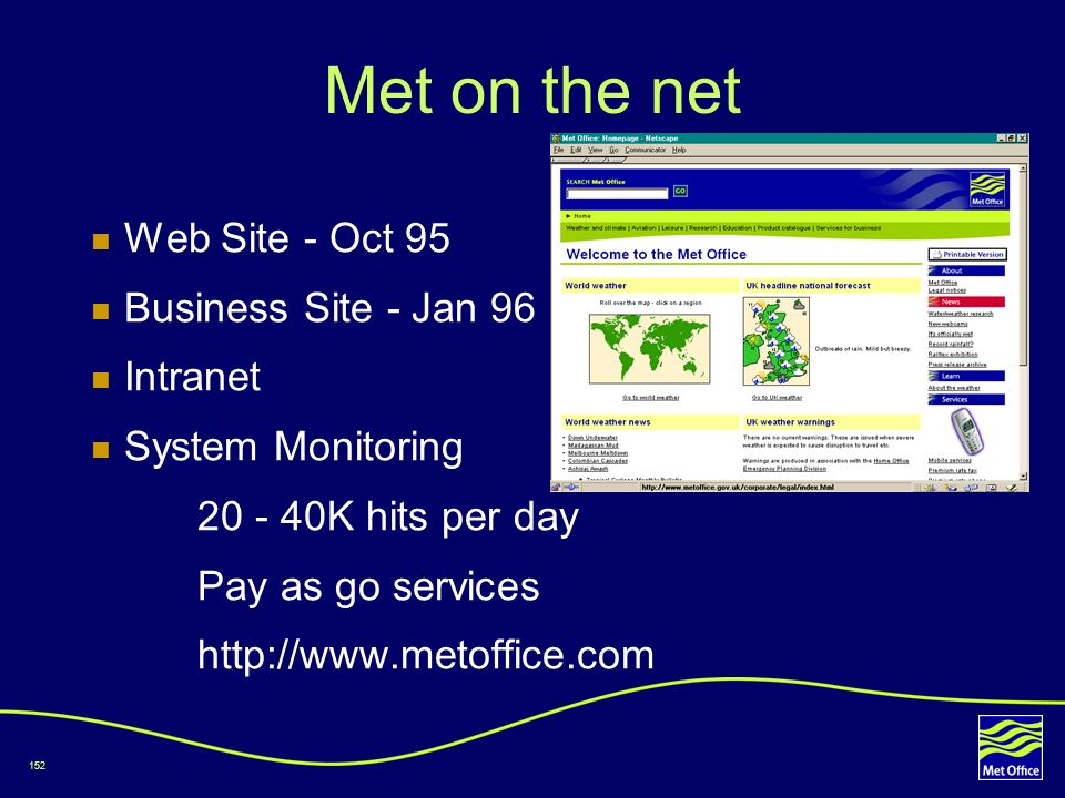 Met on the net Web Site - Oct 95 Business Site - Jan 96 Intranet