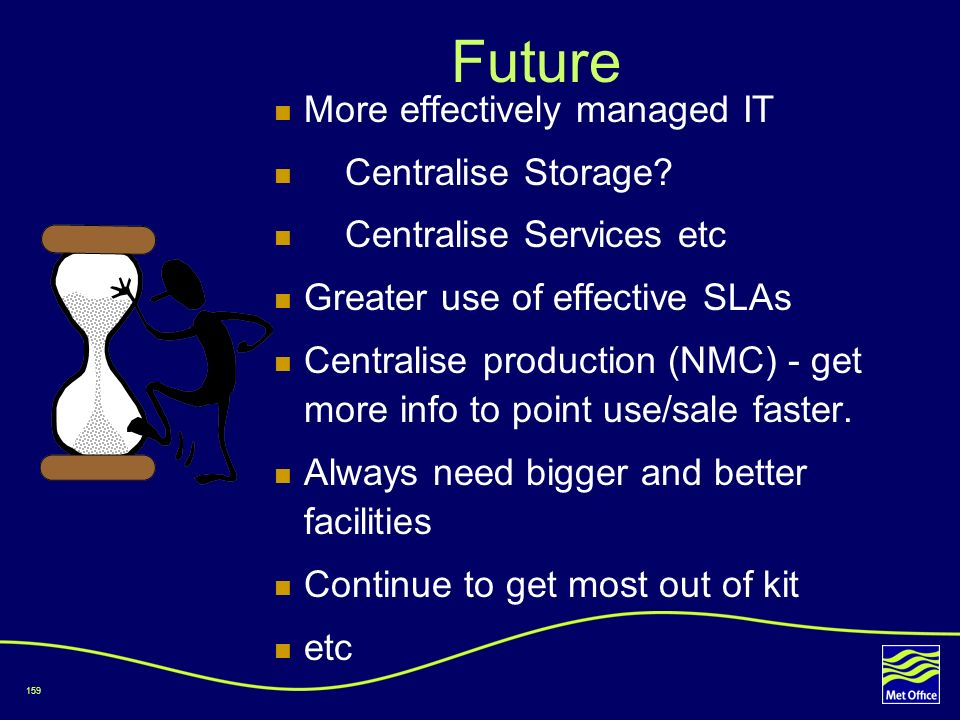 Future More effectively managed IT Centralise Storage