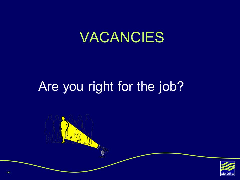 VACANCIES Are you right for the job