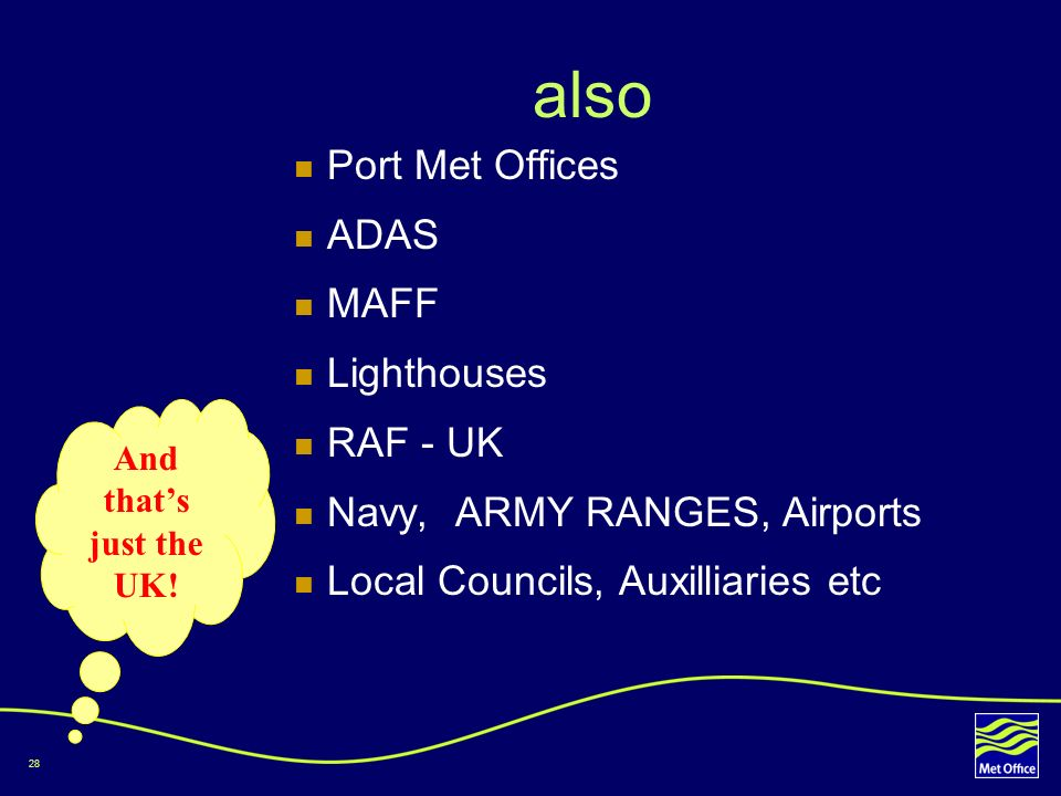 also Port Met Offices ADAS MAFF Lighthouses RAF - UK