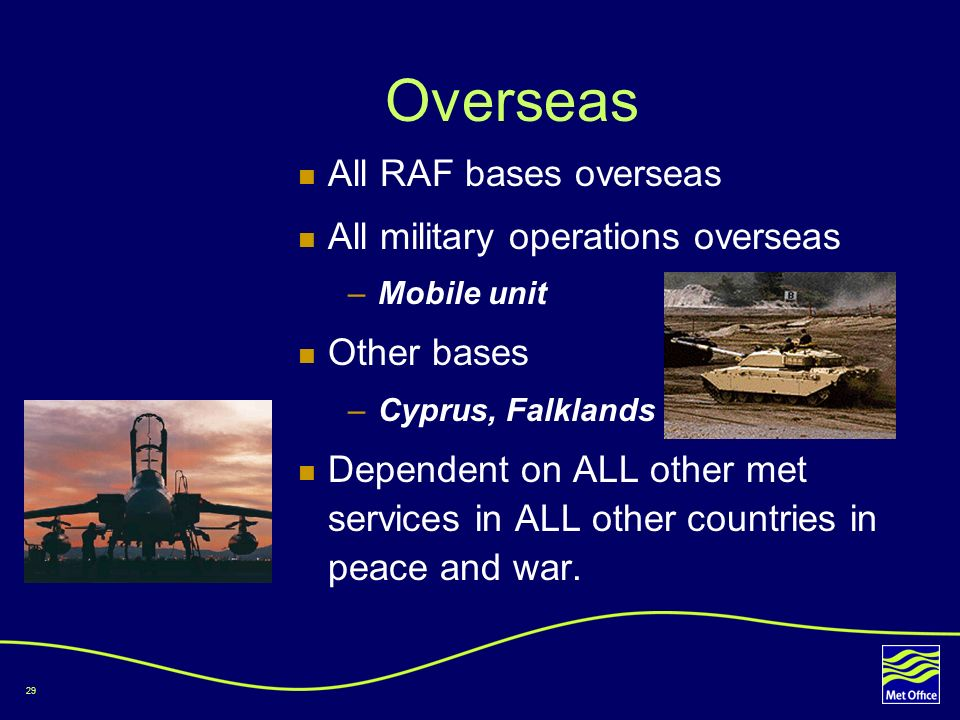 Overseas All RAF bases overseas All military operations overseas