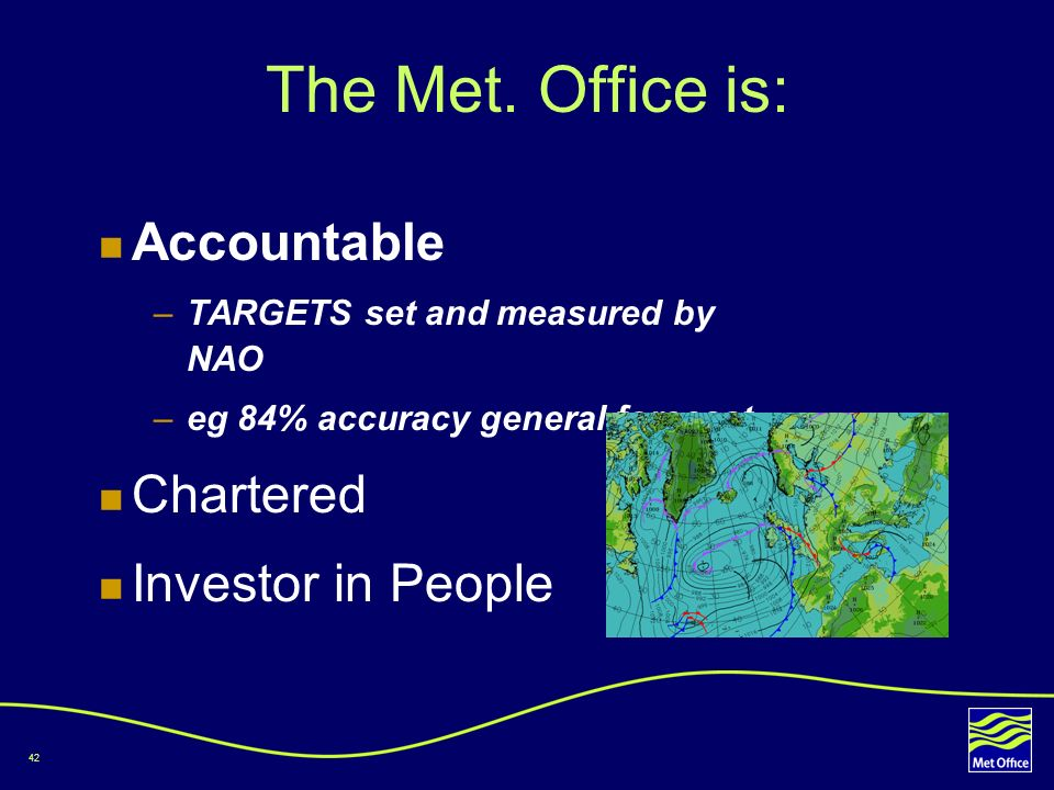 The Met. Office is: Accountable Chartered Investor in People