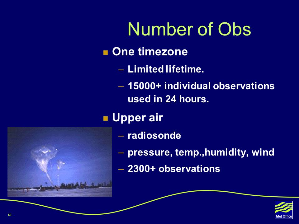 Number of Obs One timezone Upper air Limited lifetime.