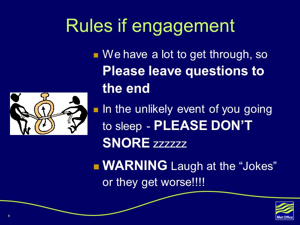 Rules if engagement WARNING Laugh at the Jokes or they get worse!!!!