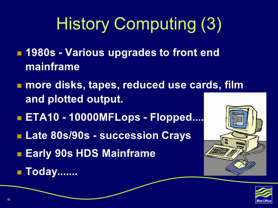 History Computing (3) 1980s - Various upgrades to front end mainframe