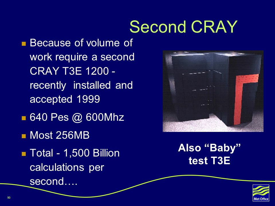 Second CRAY Because of volume of work require a second CRAY T3E 1200 - recently installed and accepted 1999.