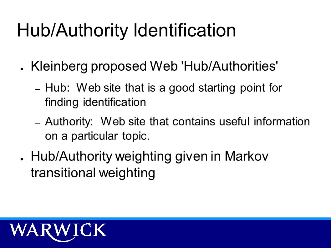 Hub/Authority Identification