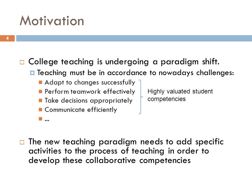 Motivation College teaching is undergoing a paradigm shift.