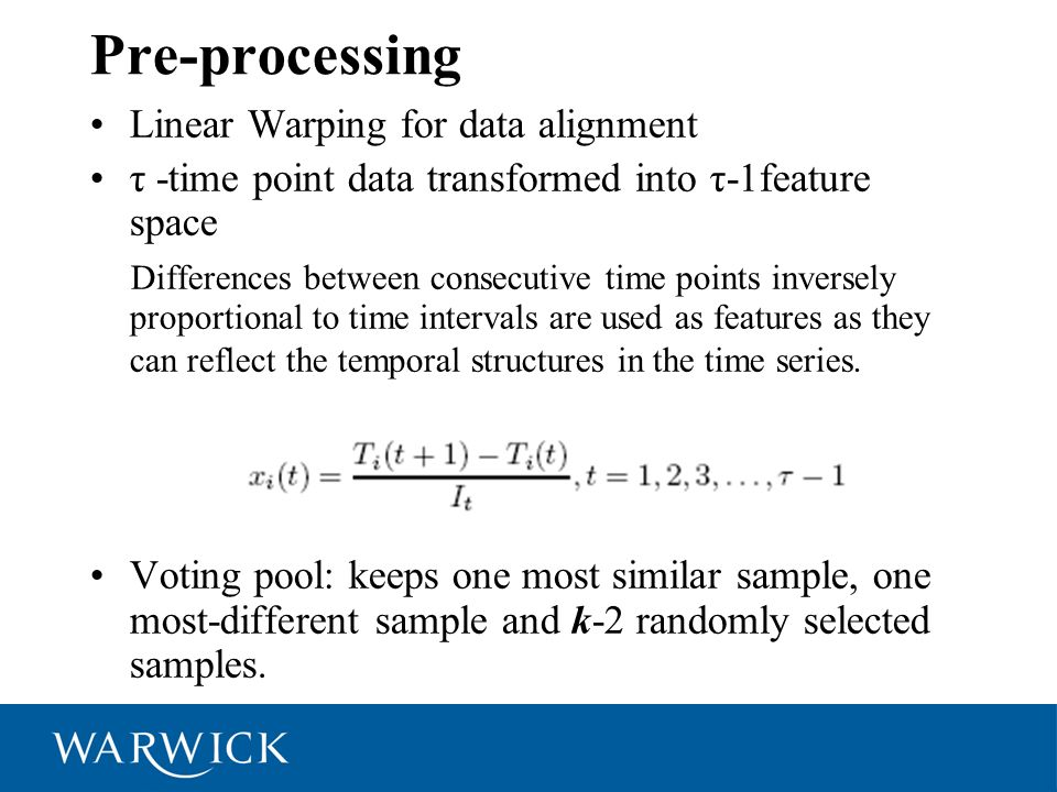 Pre-processing Linear Warping for data alignment