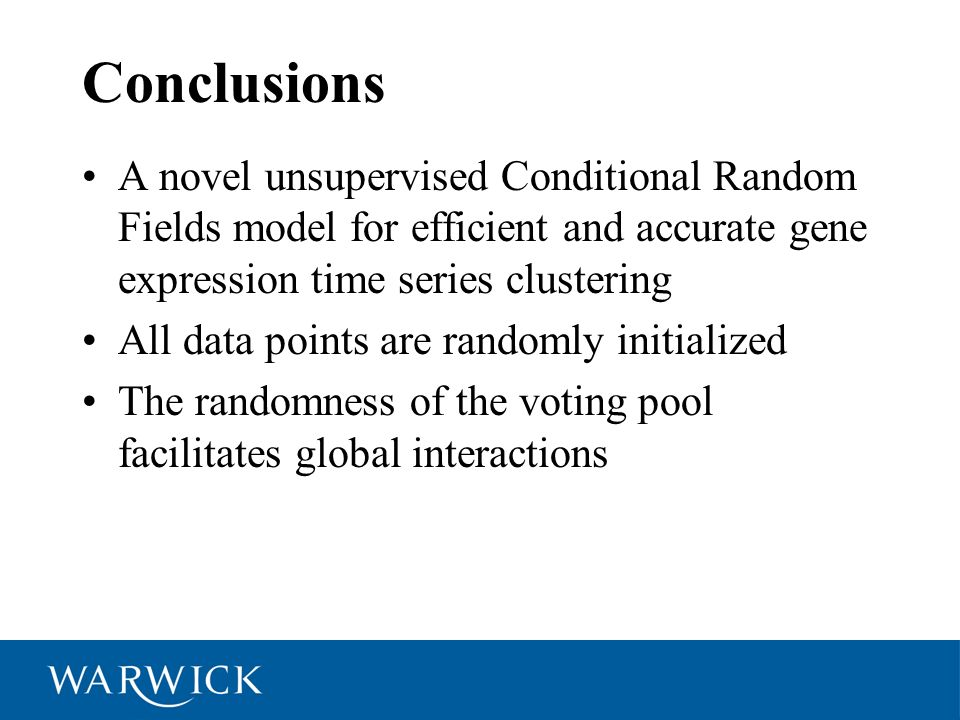 Conclusions A novel unsupervised Conditional Random Fields model for efficient and accurate gene expression time series clustering.