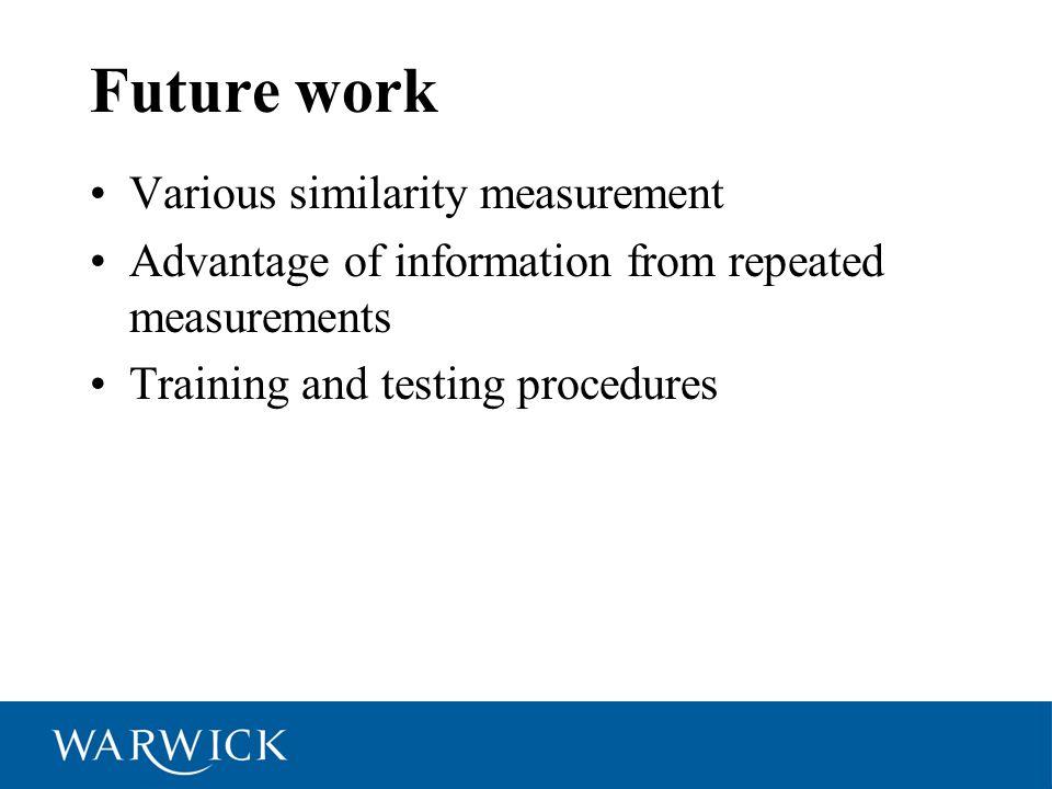 Future work Various similarity measurement