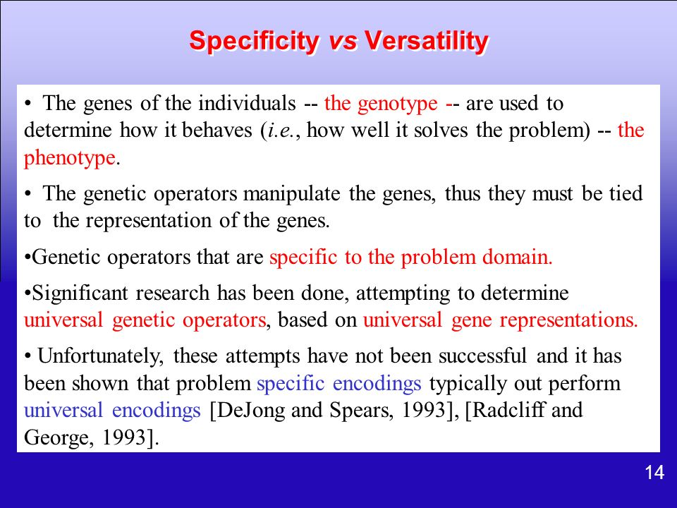 Specificity vs Versatility