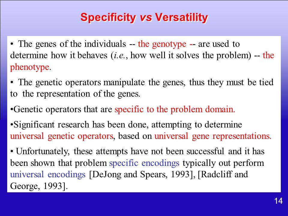 Specificity vs Versatility