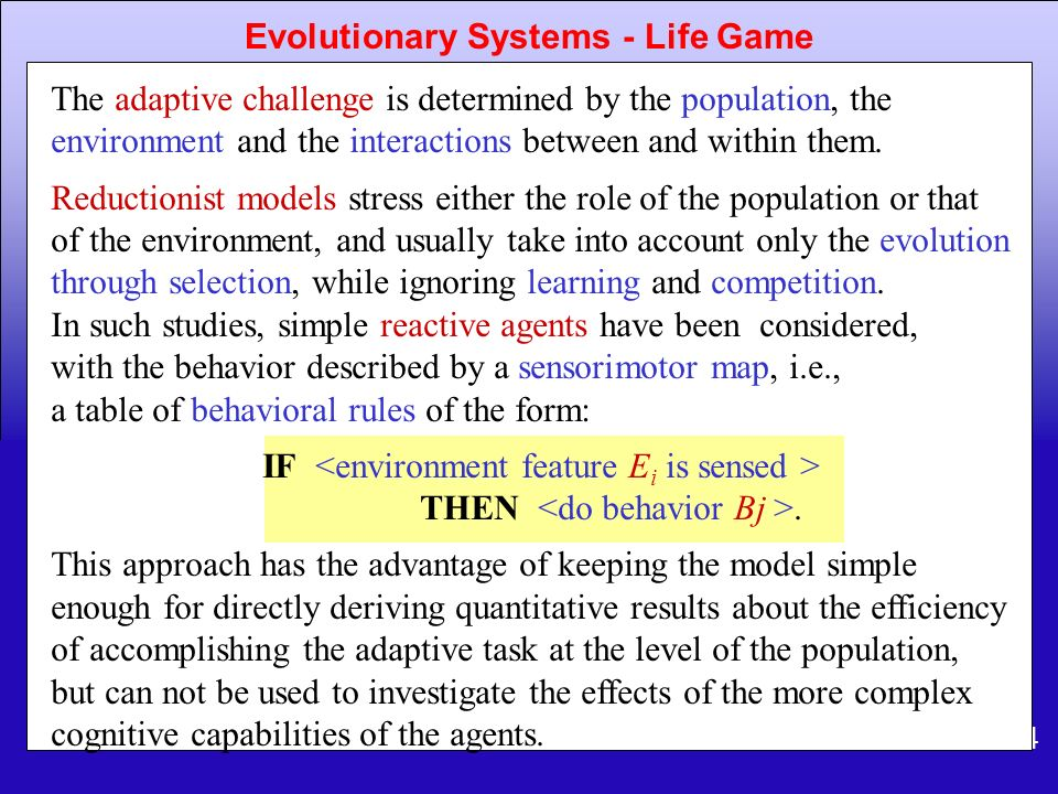 Evolutionary Systems - Life Game