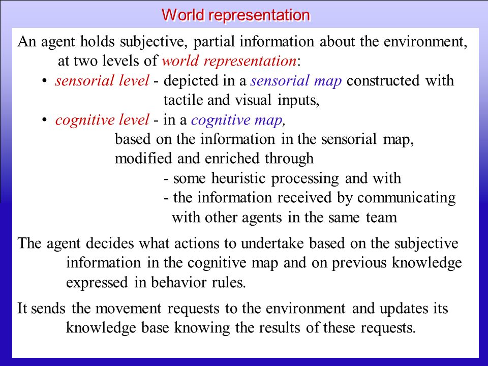 World representation An agent holds subjective, partial information about the environment, at two levels of world representation: