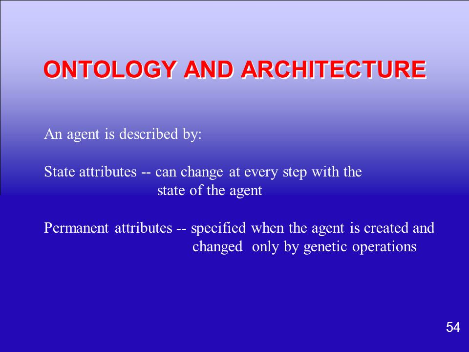 ONTOLOGY AND ARCHITECTURE
