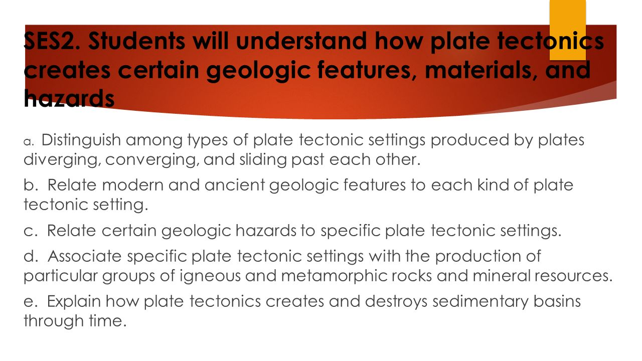 SES2. Students will understand how plate tectonics creates certain geologic features, materials, and hazards