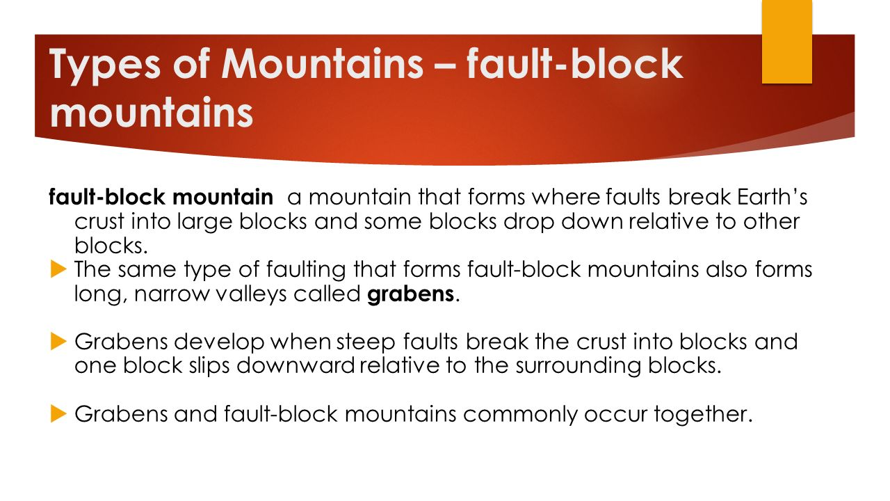 Types of Mountains – fault-block mountains