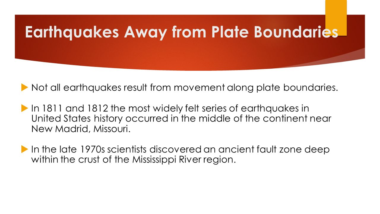 Earthquakes Away from Plate Boundaries