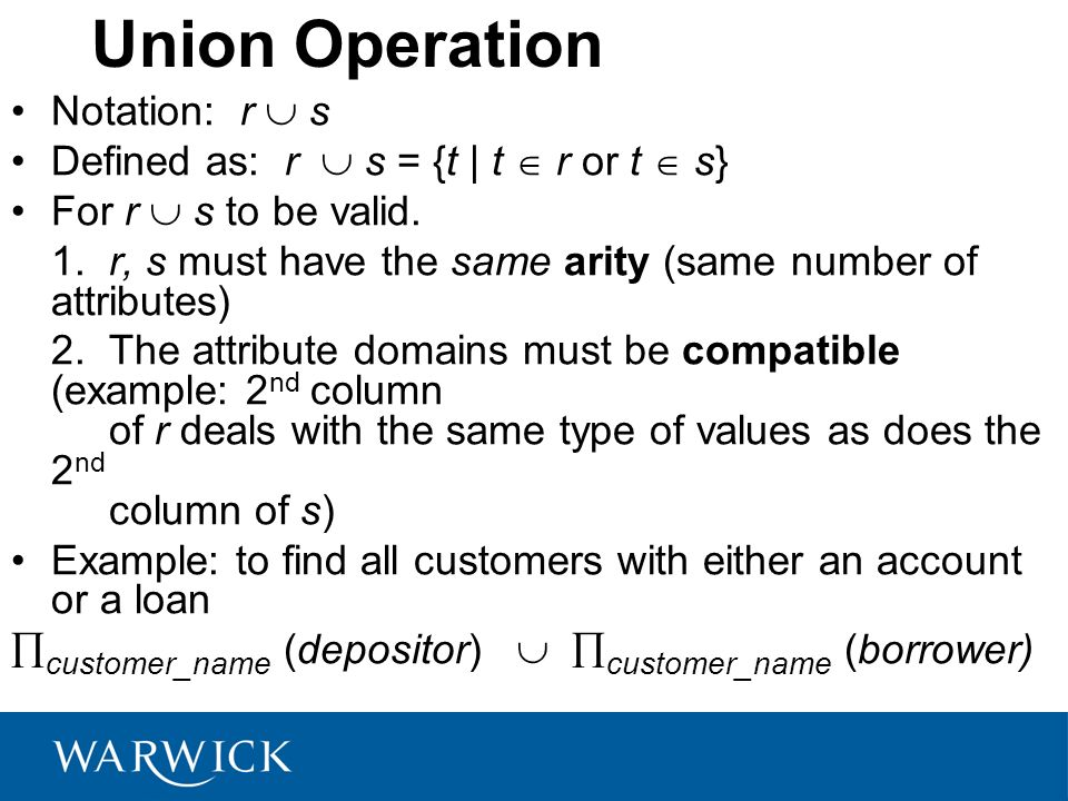 Union Operation Notation: r  s