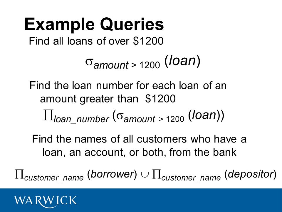 Example Queries amount > 1200 (loan)