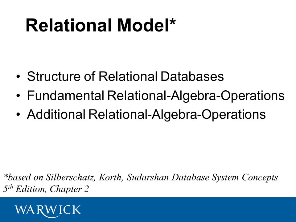 Relational Model* Structure of Relational Databases