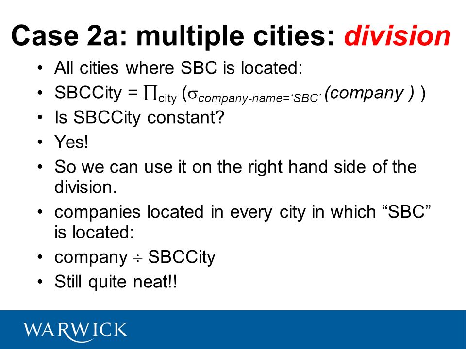 Case 2a: multiple cities: division