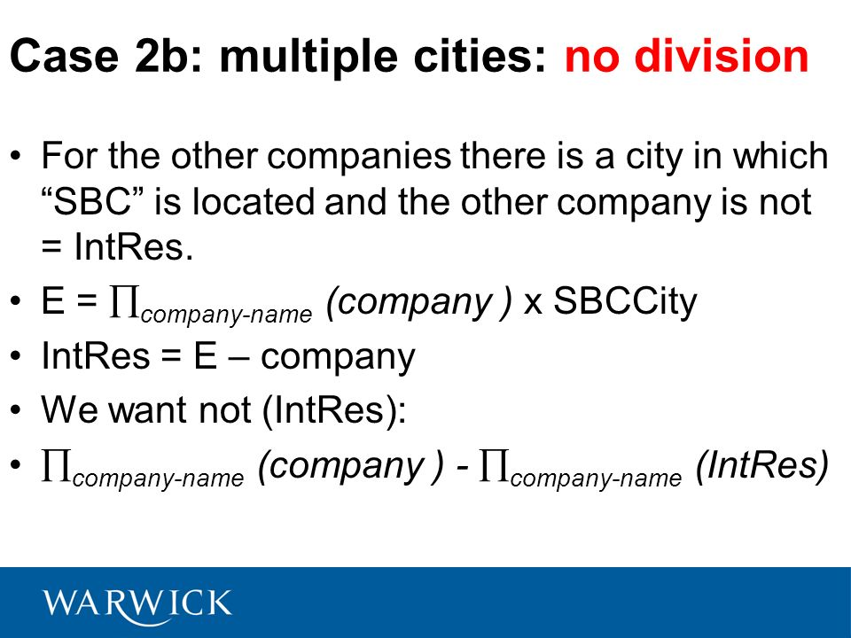 Case 2b: multiple cities: no division