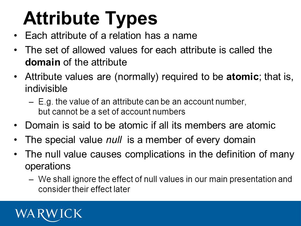 Attribute Types Each attribute of a relation has a name